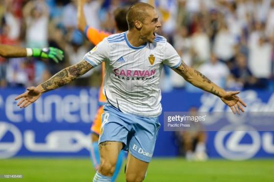 Jorge Pombo of Real Zaragoza (8) celebrates after scoring